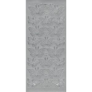 Samolepicí kontury - motýli 3 stříbro