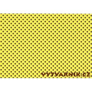 Fotokarton A4 - puntíky žlutočerné