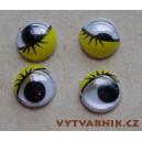 Oči kulaté - 10 mm žluté s řasou