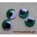 Oči kulaté - 10 mm zelené s řasou