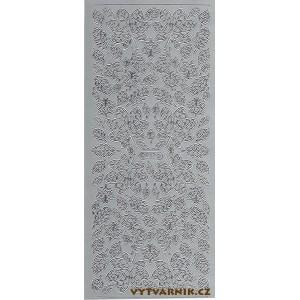 Samolepicí kontury - listy 1 stříbro