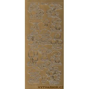 Samolepicí kontury - houby zlato