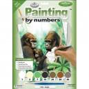 Malování podle čísel - junior - gorilí rodinka