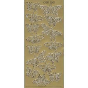 Samolepicí kontury - motýli 1 zlato