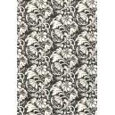 Pauzovací papír  A4 - černobílý květinový ornament