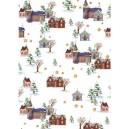 Pauzovací papír  A4 - vánoční domky