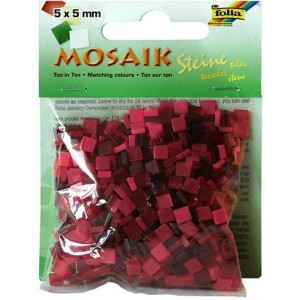 Mozaiková sklíčka - červený mix 5x5 mm